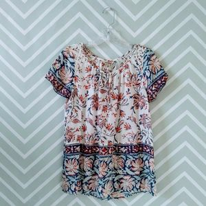 Lucky Brand floral short sleeve boho tunic top